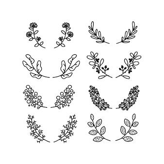 花の葉植物のウェディングボーダー要素ベクトルセット