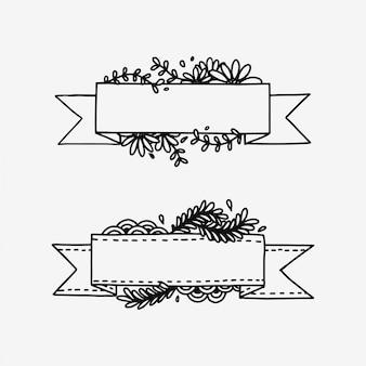 手描き落書き植物ボーダー