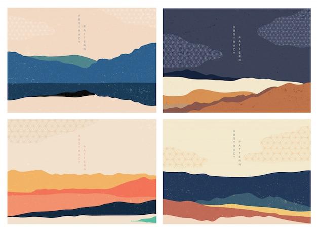 Природный ландшафт фон с японским рисунком. горный лес шаблон с геометрическими элементами. обои абстрактного искусства.