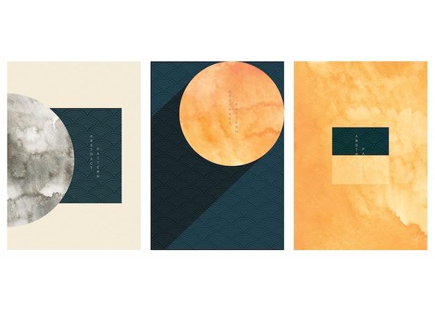 Набор геометрических фон с японской волновой картины в винтажном стиле. собрание шаблона иллюстрации обоев формы абстрактного искусства.