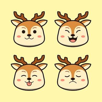 式動物セットとかわいい茶色の鹿