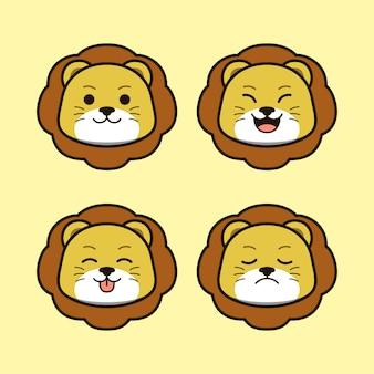 表現動物セットとかわいい野生のライオン