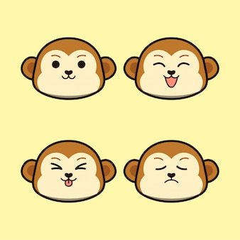 式の動物セットとかわいい猿