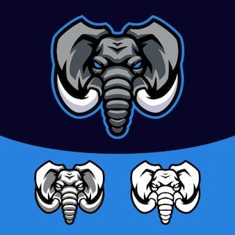 象のマスコットのロゴセット