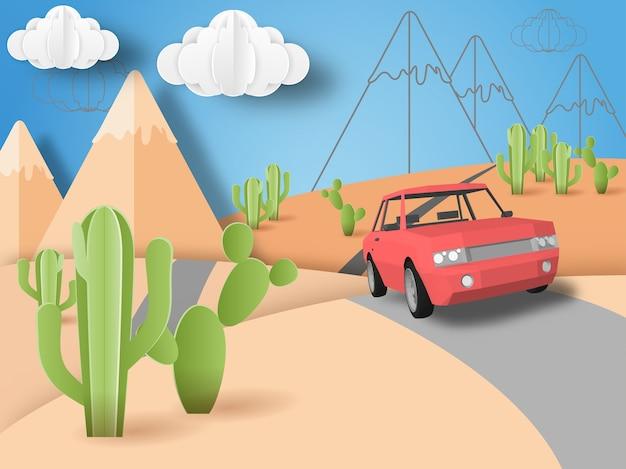 砂漠の風景とサボテンの植物のロードトリップ
