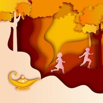 秋の概念を持つアラジン黄色の鉄ランプ。
