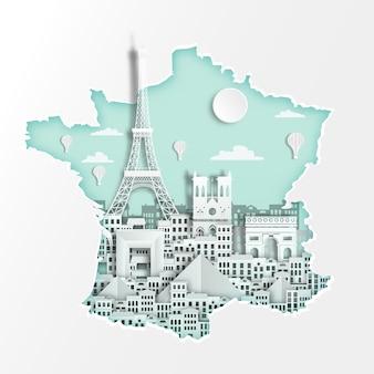 フランス、旅行のポスターのための地図上の有名なフランスのランドマーク、紙のアートスタイルのパリ。
