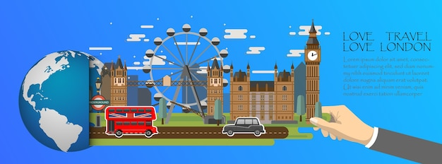 Лондонская инфографика, глобальная с ориентирами англии, плоский стиль.
