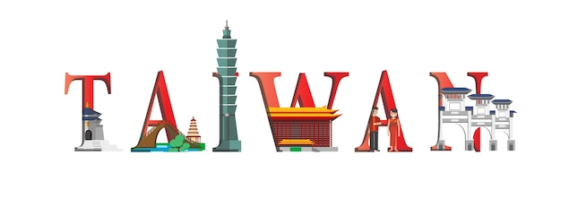 トラベルインフォグラフィック。台湾の情報、台湾の文字と有名なランドマーク。