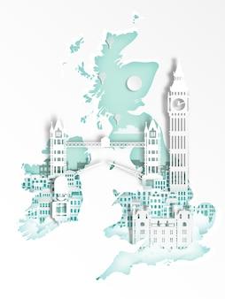 Знаменитая достопримечательность плаката для путешествий, англия, лондон в стиле бумажного искусства.