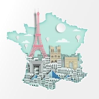 地図上の有名なフランスのランドマーク