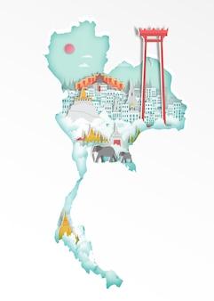 旅行のポスター、紙アートスタイルの地図上に有名なタイのランドマーク。
