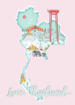 旅行のポスターのための地図上の有名なタイのランドマーク