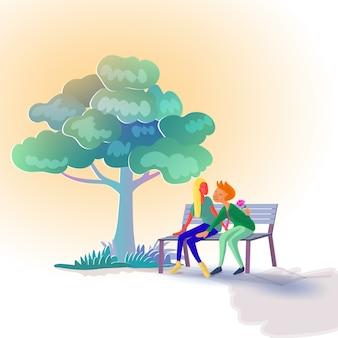 ベンチに座っている恋人
