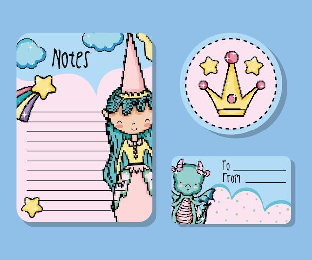 ピクセルアート紙ノートモックアップベクトルイラストグラフィックデザイン