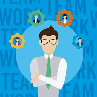 Бизнес-команда босс мультяшный векторная графика графический дизайн