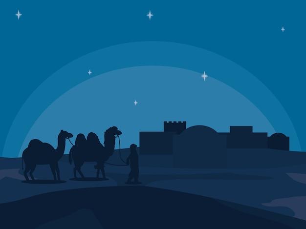 夜のアラブの町