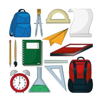 Набор школьных принадлежностей коллекция векторных иллюстраций графический дизайн