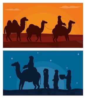 アラブ、砂漠でラクダ