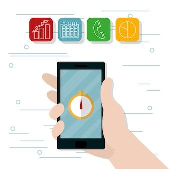 Рука, использующая мобильное приложение для смартфонов