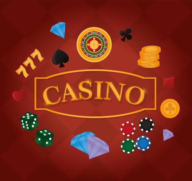 カジノのチップダイヤモンドとルーレットのゲームのベクトル図のグラフィックデザイン