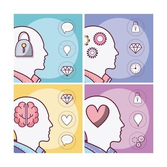 人間の心のカードのセット