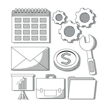 オフィスとビジネスの要素のセット