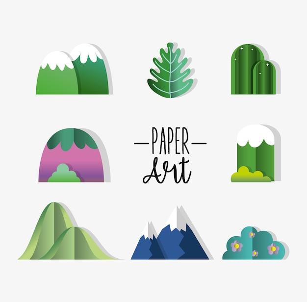 Набор значков бумажного искусства