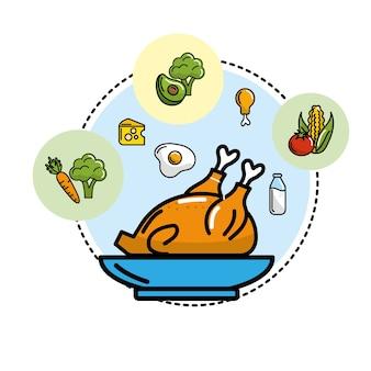 野菜や果物のアイコン付きのおいしいチキン