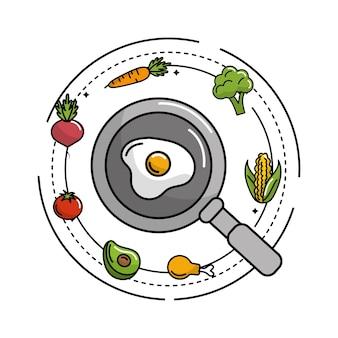 フライパンと野菜と果物の卵