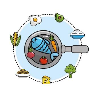 野菜や果物と一緒にフライパンの鍋の中の魚