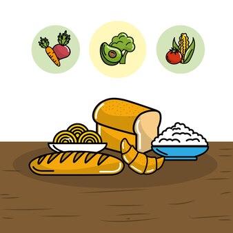 スパゲッティと小麦の栄養を持つパン