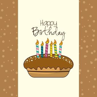 ケーキとキャンドルと誕生日の飾り飾り