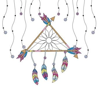 美しい夢キャッチャー、羽と矢のデザイン