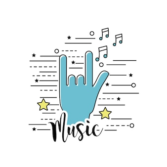 С символом рок и музыкальными сигналами