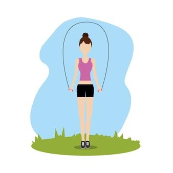 ジャンプする女性運動をする