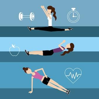 女性の健康的なライフスタイルを設定して運動をする
