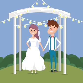 カップルは、光の装飾のデザインと結婚