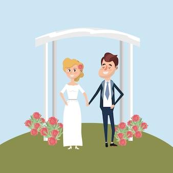カップルは花の装飾のデザインと結婚しました
