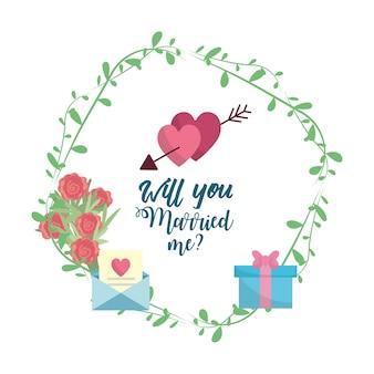 ロマンチックなメッセージをもったアローと結婚したばかりの心