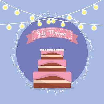 リボンのデザインでちょうど結婚したメッセージのケーキ