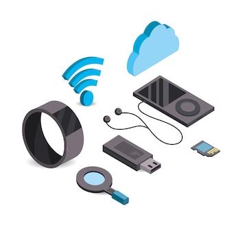 データサービスを接続したスマートフォンとスマートウォッチ