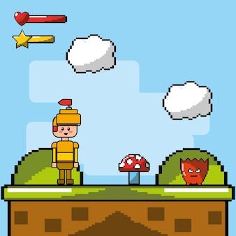 キャラクターの敵との兵士とコインによるビデオゲーム