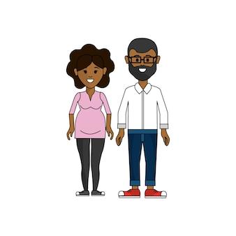 暗い肌のカップル、眼鏡を持つ男と妊娠した女性