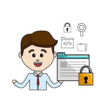 デジタル文書の錠前のセキュリティと技術のアイコンを持つ男