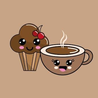 かわいい桜のカップケーキとコーヒーアイコン