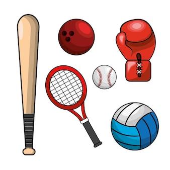 色の異なるスポーツゲームのアイコン