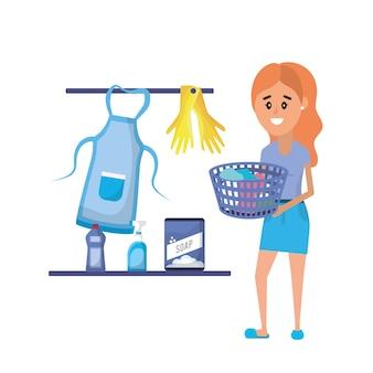 Оборудование для прачечной и женщина, занимающаяся домашней работой