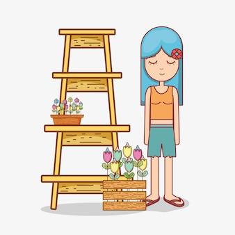 ヒッピーズの女性の漫画