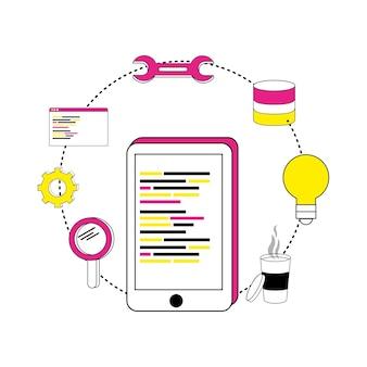 スマートフォンのプログラミングコードと産業機器
